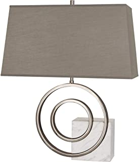 product image for Robert Abbey L910 Jonathan Adler Saturn - Two Light Table Lamp, Polished Nickel/White Marble Finish with Oyster Linen Shade