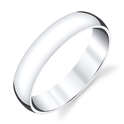 5mm Plain Dome Sterling Silver Mens Wedding Band Comfort Fit Ring