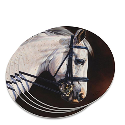Reins Set Tack - Beautiful White Horse Reins Tack Harness Novelty Coaster Set