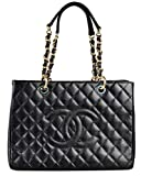 Simple-Chanel Women's Black GST Single Shoulder Bag Chain Litchi Peel Shopping Bag