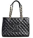 Simple-Chanel Women's Black GST Single Shoulder Bag Chain Litchi Peel...