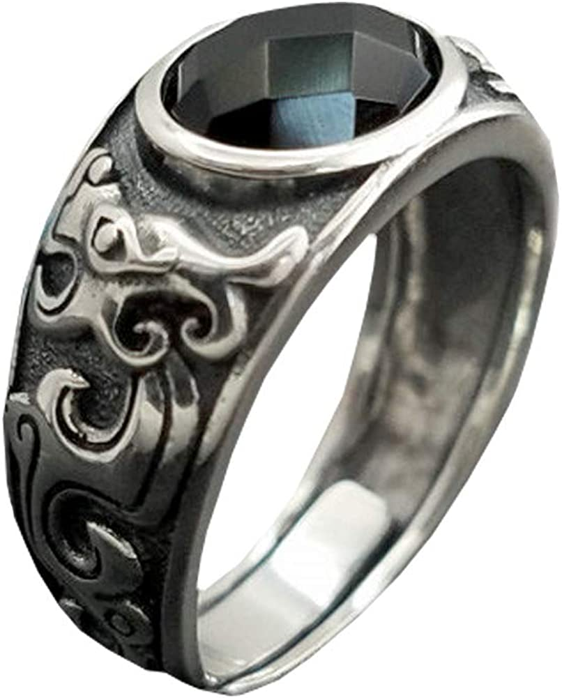 SA SILVERAGE - Anillo de boda de plata de ley 925 con ágata negra para hombre