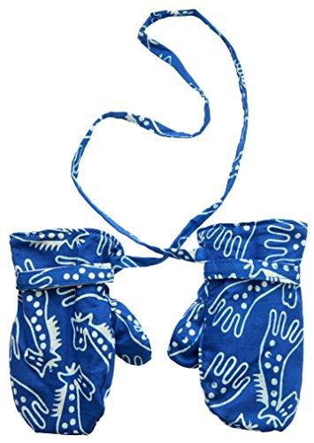 Bali Giraffe - Baby Boys Fleece Mittens Blue White Giraffes XLarge