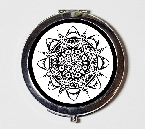 Moon Flower Compact Mirror Consciousness Spirituality Hippie Spiritual Festival Accessory Pocket Size for Makeup Cosmetics