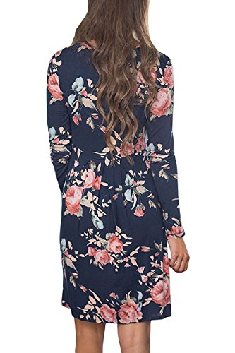 Crew Sleeve Floral Navy Neck Women's Dress Demetory Summer Casual Dress Printed Long Flower wqgOOUfS