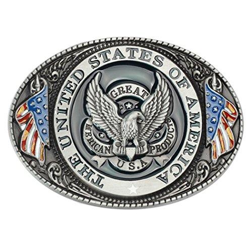 Zoylink American Belt Buckle Patriotic Buckle Decorative Eagle Flag Metal Novelty Belt Buckle (Eagle Metal Belt Buckle)