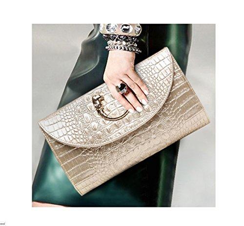 Pochette Borsa messenger donna tracolla pelle da donna sera CUIYAN per stile Nuovo in Oro Tote SHISHANG in da in con coccodrillo wFxnzq