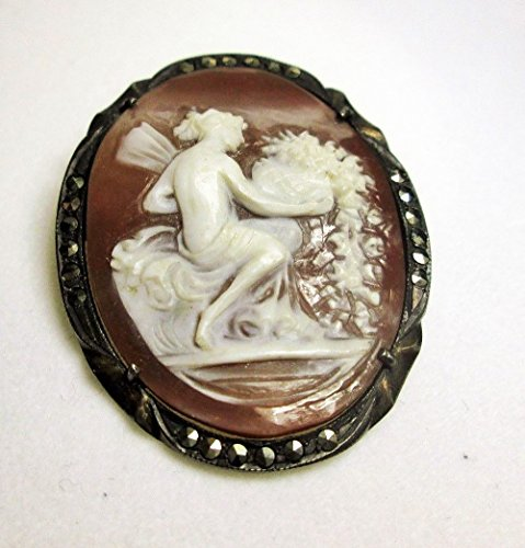 Museum Quality FAIRY Cameo Hand Carved Carnelian Shell Partially Nude with Flowers, Marcasite Sterling Cameo Brooch/Pendant. - Flowers Marcasite Brooch