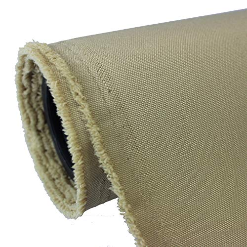 Waterproof Canvas Fabric Outdoor 600 Denier Indoor/Outdoor Fabric by The Yard PU Backing UV Protector Canvas Marine Awninig Fabric Kakhi, Sand (10 Yards)