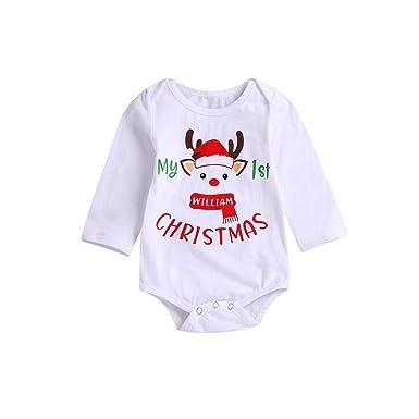 01dad9bac71f1 LUBITY Romper My 1ST Christmas Noël BéBé Garçon Fille Combinaison Manches  Longues Bande Dessinée Tête Cerf