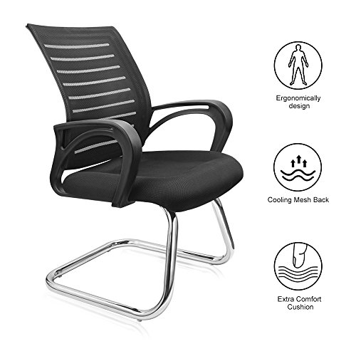 Office Chair, Lumbar Support Gaming Chair Meeting Conference Chair with Breathable Ergonomic Mesh Back Extra Comfort Foam Pad and Robust Steel Base Home Office Chair - Black, 180lb Capacity - Ergonomic Conference Chair