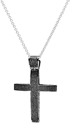 Dazzlingrock Collection Sterling Silver Womens Round Black Color Enhanced Diamond Cross Religious Pendant 1//4 Cttw
