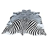 Zebra Cowhide Carpet/Entire Nordic American Animal Carpet/Black and White Living Room Bedroom Bed Round Round Mat/Profiled Thin Mat 55*79 inch