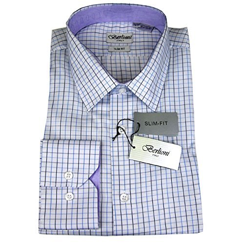 White Blue Mens 100% Cotton Slim Fit Check Dress Shirt