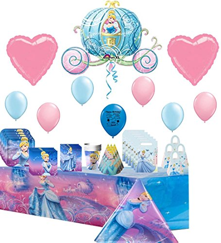 Cinderella Deluxe Party Supply and Balloon Decoration Kit Bundle]()