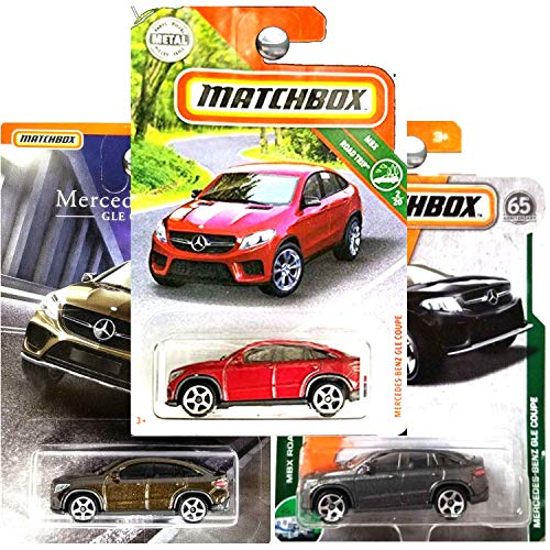 (Matchbox Mercedes Benz GLE Coupe in Charcoal Gray Silver and Bronze Brown Copper Set of 2)