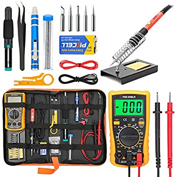 Soldering Iron Kit Electronics, Yome 19-in-1 60w Adjustable Temperature Soldering Iron with ON/OFF Switch, Digital Multimeter, 5pcs Soldering Iron Tips, ...