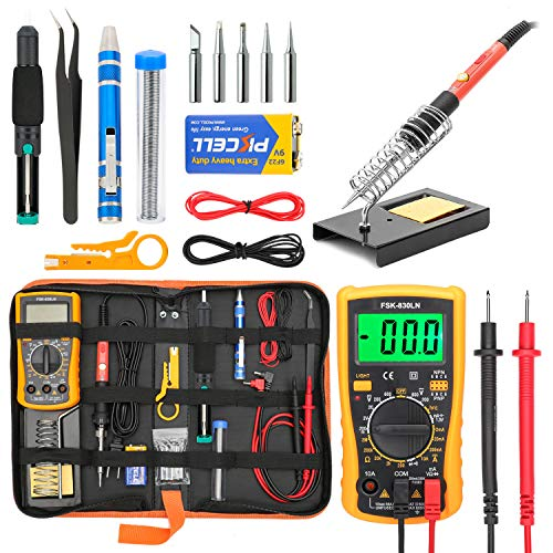 - Soldering Iron Kit Electronics, Yome 19-in-1 60w Adjustable Temperature Soldering Iron with ON/OFF Switch, Digital Multimeter, 5pcs Soldering Iron Tips, Desoldering Pump, screwdriver, Tweezers, Stand