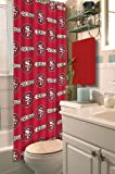 San Francisco 49ers COMBO Shower Curtain, Matching Shower Curtain Rings & Set of (Four) Appliqué Bath Towels with Team Logo - Decorate your Bathroom & SAVE ON BUNDLING!