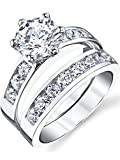 Sterling Silver 925 2.00 Carat Engagement Ring Wedding Band Set 2-Pc With Cubic Zirconia Size 8