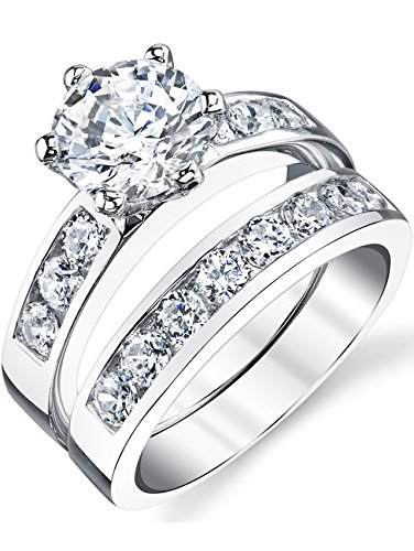 Sterling Silver 925 2.00 Carat Engagement Ring Wedding Band Set 2-Pc With Cubic Zirconia Size 6 Bridal Set Silver Ring