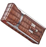 Personalized Visol Alton Leather Cigar Case, Cigar Cutter and Flask Travel Set