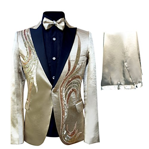 Cloudstyle Men's One-Button Blazer Tuxedo Casual Dress Suit Slim Fit Jackets & Trousers,Golden 2,X-Large ()