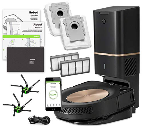(iRobot Roomba s9+ (s955020) Robot Vacuum Bundle with Automatic Dirt Disposal- Wi-Fi Connected, Smart Mapping, Ideal for Pet Hair (+1 Extra Edge-Sweeping Brush, 1 Extra Filter))