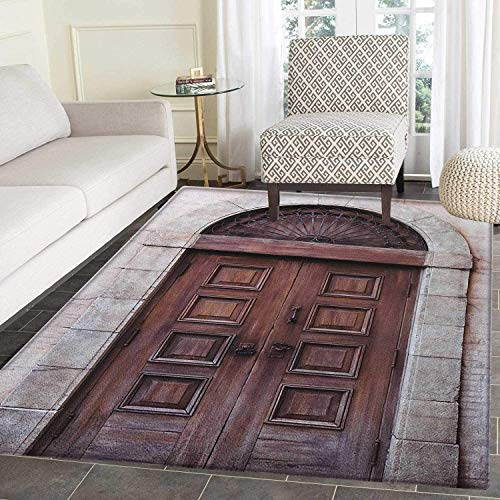 Rustic Anti-Skid Area Rug Arched Wooden Venetian Door with Eastern Royal Ottoman Elements European Culture Door Mat Increase 4'x5' Brown Cream ()