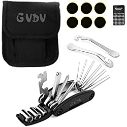 GVDV Bicycle Repair Tool Kits, 16 in 1 Multi Function Bike Mechanic Fix Tools Cycle Maintenance Kits Set Bag with Tire Patch & Levers