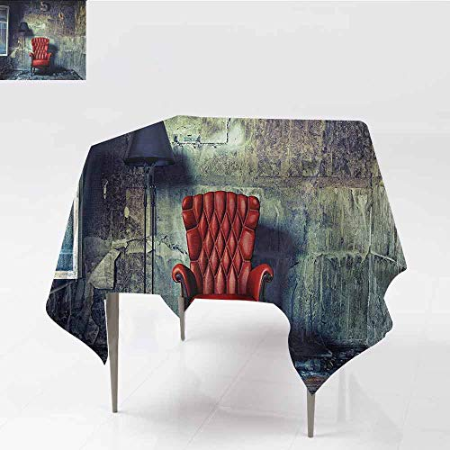 - DILITECK Wrinkle Resistant Tablecloth Antique Old Armchair Floor Lamp in Grunge Interior Damaged Messy Abandoned House Easy to Clean W70 xL70 Pale Green Red Black