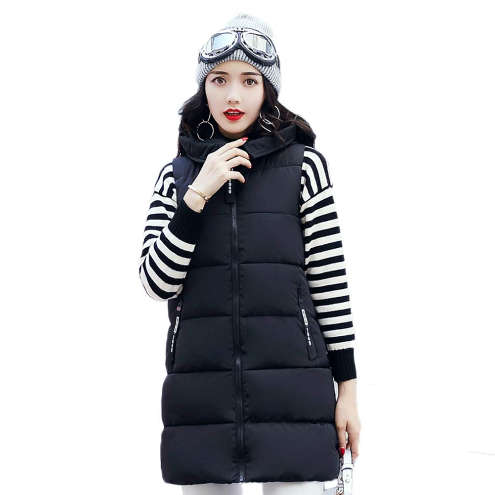 Black Winter Women Waistcoat Sleeveless Jacket Cotton Warm Hooded Long Vest Female Coat Vest