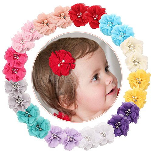 Elesa Miracle Baby Girl Hair Clips Toddlers Infants Kids Hair Grosgrain Ribbon Bow Snap Clips Barrettes (24pcs Rhinestone Flower ()