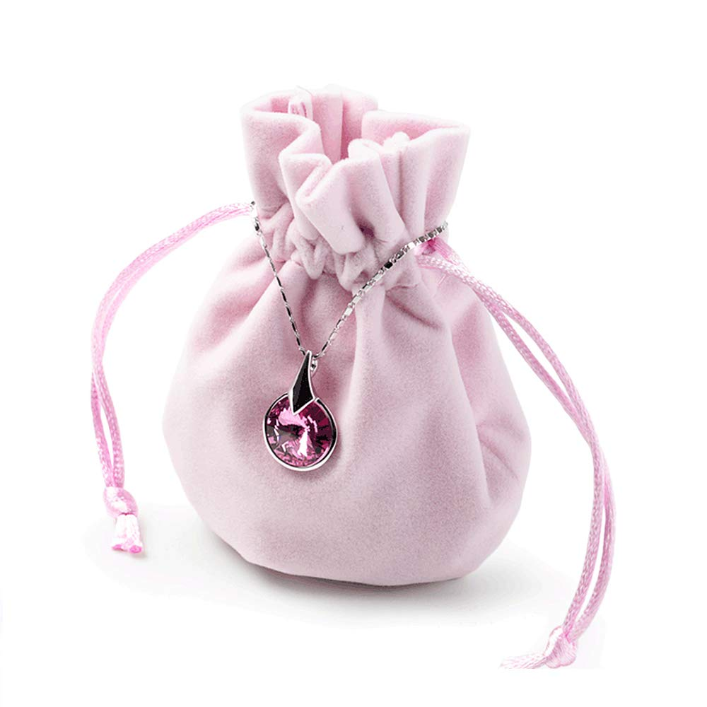 Oirlv Velvet Drawstring Favor Bags Jewelry Pouches Wedding Party Favor Bag Home Travel Organizer(50Pack,Pink)