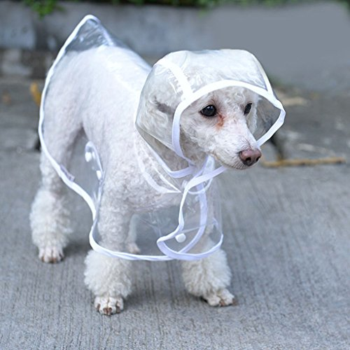 Image of Topsung Waterproof Puppy Raincoat White Transparent Pet Rainwear Clothes for Small Dogs/Cats, Size S