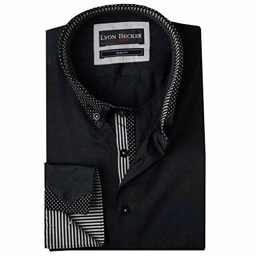 Lyon Black Pour Double Col À Xl Italien Slim L Xxl M Design Taille Manches Longues Casual Chemise dc24 Homme Fit Becker XrHwqzvr