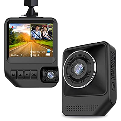 """Dash Cam Dual Cameras for Cars, 2.3"""" LCD HD 1080P Car Camera with Night Vision Dashboard Camera Recorder Front and Rear with 170° Wide Angle, G-Sensor, Loop Recording, WDR, Parking Mode by YZTronics"""