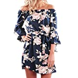 Women Dress,IEason Hot Sale! Women Summer Off Shoulder Floral Short Mini Dress Ladies Beach Party Dresses (M, Blue)