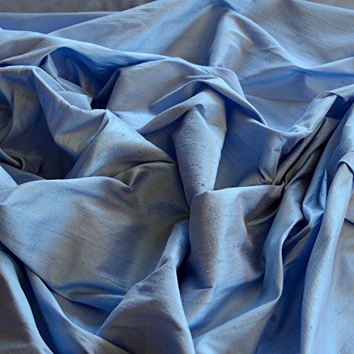 Iridescent Cornflower Blue Dupioni Silk, 100% Silk Fabric, By The Yard, 44