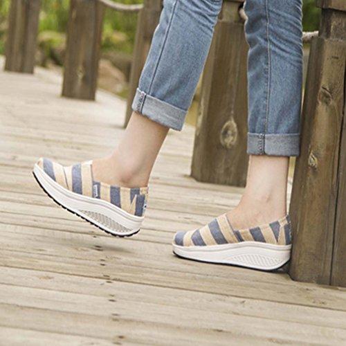 Course confortable Baskets Compensé de Femme Plateau avec Chaussures motifs Talon solshine Loafers PxZwFaS