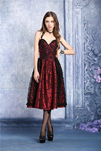 schwarze Kleid glänzende rot Gothic Vampir Schwarz Spitze Lolita Rückenfrei Viktorianischer 55ng1xpr