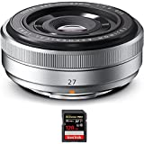 Fujifilm Fujinon XF 27mm (41mm) F2.8 Silver X-Mount Lens (16401581) with Sandisk Extreme PRO SDXC 128GB UHS-1 Memory Card
