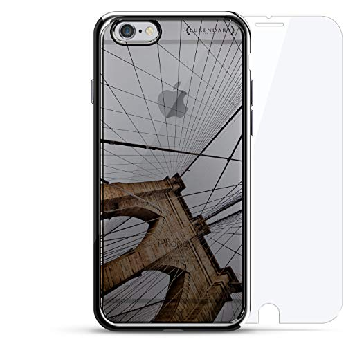 Brooklyn Bridge Seethrough | Luxendary Chrome Series 360 Bundle: Designer case + Tempered Glass for iPhone 6/6s Plus in Silver