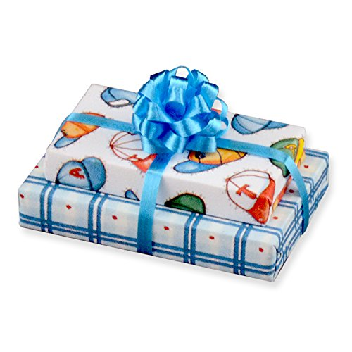 Miniature Dollhouse Blue Double Baby Boy Gift w/Fancy Bow Reutter Porcelain