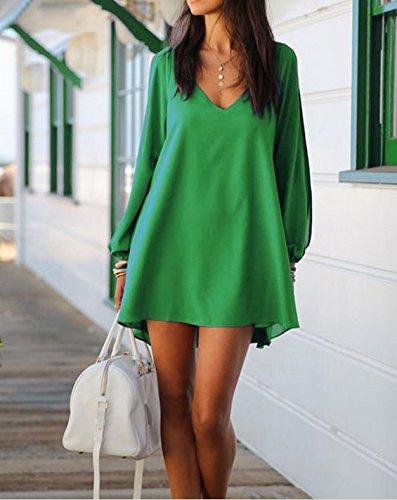 Superstart Green Women Casual Sexy Dress Irregular V-neck Chiffon Loose A-line Dress Skirt for Women in Summer