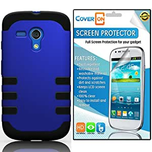 Motorola Moto G Case, By CoverON® Motorola Moto G / Moto G LTE 1st Generation Hybrid Dual Layer Tough Case Cover Bundle with Clear Anti-Glare LCD Screen Protector - Blue Hard Black Soft Silicone