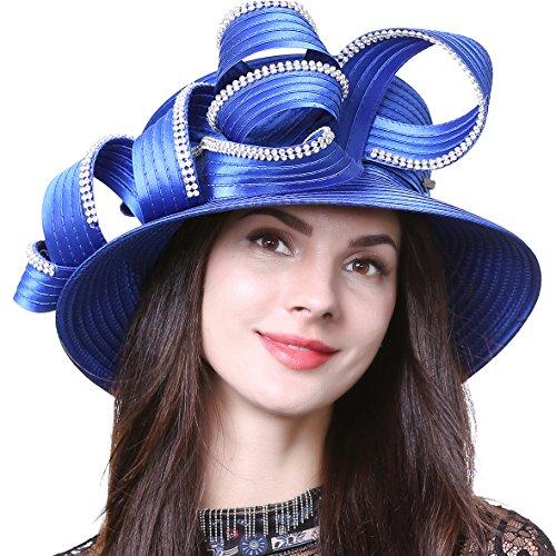 HISSHE Sweet Cute Cloche Oaks Church Dress Bowler Derby Wedding Hat Party S606-A, Rhinestone-blue, Medium