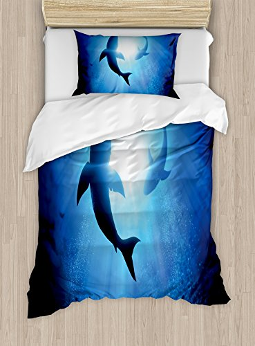 Ambesonne Shark Duvet Cover Set Twin Size, Underwater World with Fish Silhouettes Circling in The Sea Surreal Ocean Life Print, Decorative 2 Piece Bedding Set with 1 Pillow Sham, Royal Blue