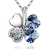Four Leaf Clover Austrian Crystal Pendant Necklace
