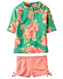 Carter's Baby Girls Swimsuit Rashguard Set (Floral) (18 Months)